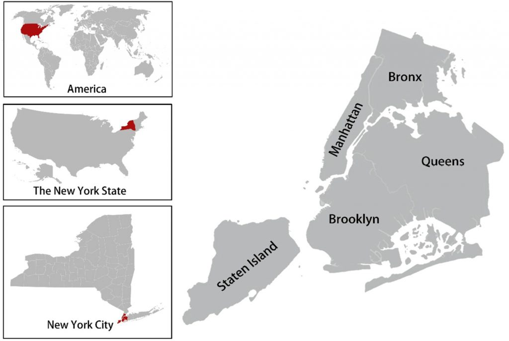 The locations of the five boroughs of New York City